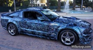 Mustang Ford GT Skull Airbrush Blue Skulls Paint Miketop